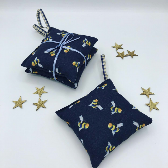 Lavender Bags - Set of 2 - Hanging Bags -  Navy Cotton with Bumble Bee Pattern