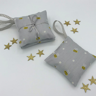 Lavender Bags - Set of 2 - Hanging Bags -  Pale Grey Cotton with Bumble Bees