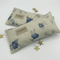 Lavender Sleep Pillow - Pale Grey and Blue Floral Linen with SLEEPY label