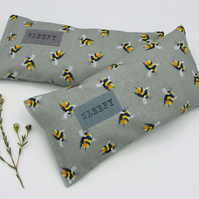 Lavender Sleep Pillow - Ash Grey Cotton with Bumble Bee Print and SLEEPY label