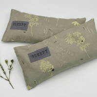Lavender Sleep Pillow - Grey with Botanical Flower Print with Small Bumble Bees