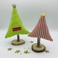 CHRISTMAS Fireplace Decoration - 2 Fabric Trees - Green Spotty & Red Stripe