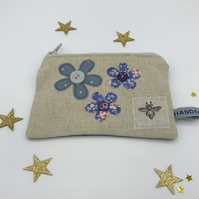 Purse - Natural Linen - Three Freehand Flowers - Blue and Lilac - Bee Stamp