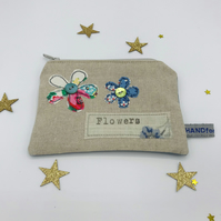 Purse - Natural Linen - Two Freehand Flowers - Cream and Blue - Flowers Stamp