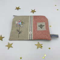 Purse - Natural Linen and Peach Tweed - Grey Freehand Flower and Bee Stamp
