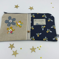 Make-Up Bag - Pencil Case - Navy Bumble Bee Fabric -Three Freehand Flowers