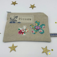 Purse - Natural Linen - Two Freehand Flowers - Green and Cream - Flowers Stamp