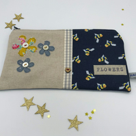 Make-Up Bag - Pencil Case - Bumble Bee Fabric - Fabric Flowers - Vintage Buttons