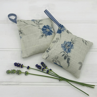 Lavender Bags - Set of 2 - Hanging Bags -  Pale Grey and Blue Floral Linen