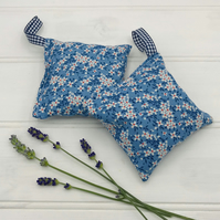 Lavender Bags - Set of Two - Blue Fabric with White & Orange Flowers