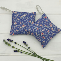 Lavender Bags - Set of Two - Lilac with Pink Rose Cotton - tied with ribbon