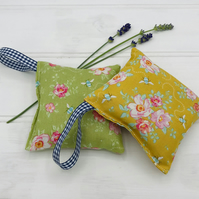 Lavender Bags - Set of Two - Tilda Bumblebee Fabric Rosa Mollis Green and Golden