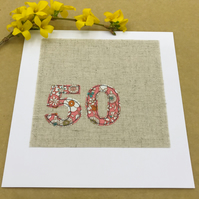 50th Birthday Card - Age 50 Card - Coral & White Floral Fabric on Natural Linen