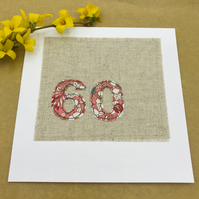 60th Birthday Card - 60 Age Card - Coral Floral Fabric on Linen