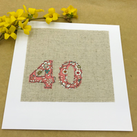 40th Birthday Card- 40 Age Card- Coral & White Floral Fabric on Natural Linen