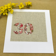 30th Birthday Card - 30 Age Card - Coral & White Floral Fabric on Natural Linen