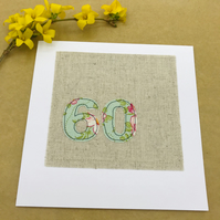 60th Birthday Card - 60 Age Card - Green & Pink Floral