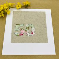 50th Birthday Card - 50 Age Card - pale Green and Pink Floral 50