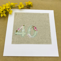 40th Birthday Card - 40 Age Card - Pale Green and Pink Floral 40