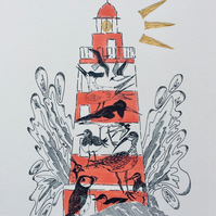 Lighthouse print, Sea and shore birds, ink and watercolour, hand finished print