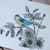 Blue tit illustration, hand finished print, garden bird