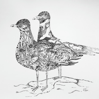 Herring gulls illustration, Seagull art, pointillism