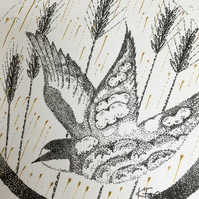 Swallow Art, Harvest time illustration, hand finished print, Harvest Gold