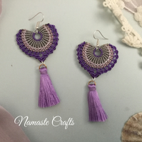 Spanish Tassel macrame beaded fan earrings, boho earrings, seed bead earrings,