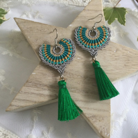 Tassel beaded macrame earrings, boho accessories, fringe accessories, gift