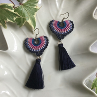 Boho tassel macrame beaded fan earrings, summer earrings, gift for her
