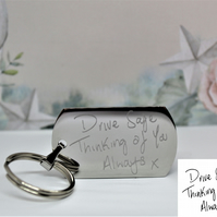 Actual handwriting gift, Engraved  Handwriting Keyring