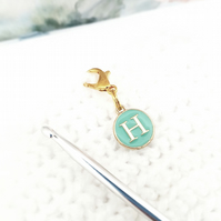 Alphabet stitch marker charm, 'H' stitch word stitch marker, progress keeper