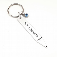 Teacher keyring, personalised teacher gift, thank you teacher, end of term gift