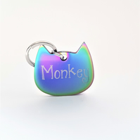 Engraved Rainbow cat tag, engraved tag for cats, ID tag for cats