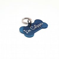 Engraved blue bone dog tag, engraved tag for dogs