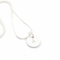 Hand Stamped Initial Necklace, Silver plated chain