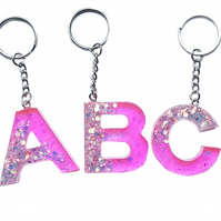 Pink Glitter resin initial keyring A-Z