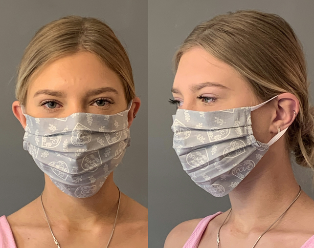 Grey Hearts Face Mask Covering, Washable & Re-usable, Adult & Child