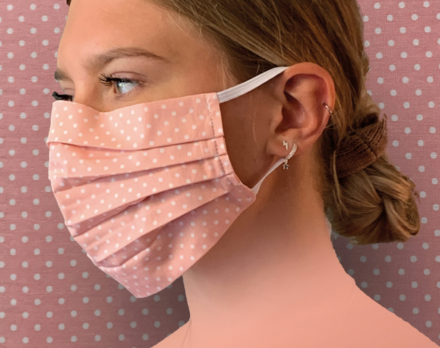 Pink Polka Dots Face Mask Covering, Washable & Re-usable, Adult & Child