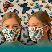 Butterflies Vintage Face Mask 100% Cotton, Washable & Re-usable, Adult & Child