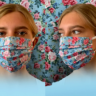 Floral Rose Blue Face Mask, Vintage, Cotton, Washable & Re-usable, Adult & Child