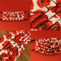 Poppy Face Mask (in aid of Royal British Legion), Washable & Re-usable