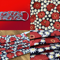 Poppy Daisy Field on Blue Face Mask (in aid of Royal British Legion)