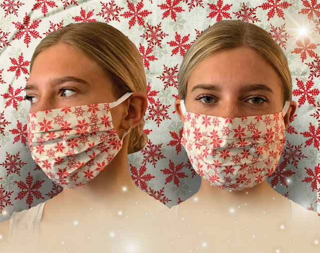 Christmas Snowflake Face Mask Covering, Washable & Re-usable, Adult & Child,