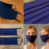 Navy Blue Face Mask, Fitted or Pleated 100% Cotton, Adjustable, washable
