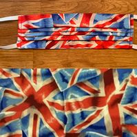 Vintage Union Jack Face Mask, Fitted Pleated 100% Cotton, Adjustable, washable