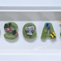 Personalised felted letter pictures