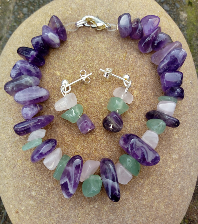 Aventurine & Amethyst Bracelet with matching Earrings