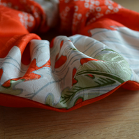 Large, orange, silk kimono scrunchie