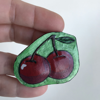 Hand tooled, retro-styled, tattoo style, cherries brooch